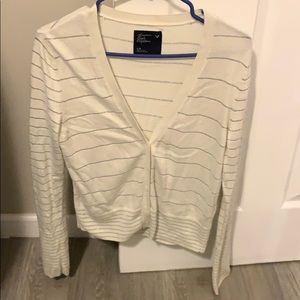 Cream silver striped button down cardigan